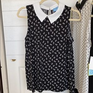 Black with white bows collared top